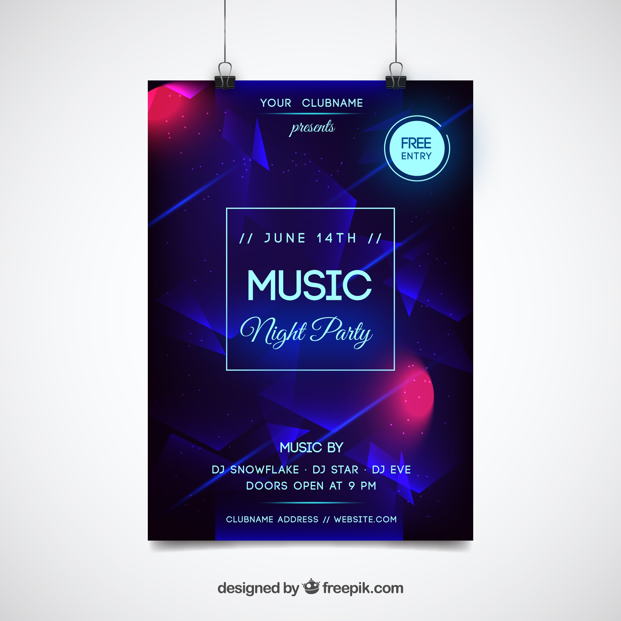 Abstract neon party poster template