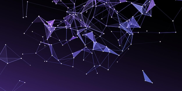 Abstract network communications background with low poly design