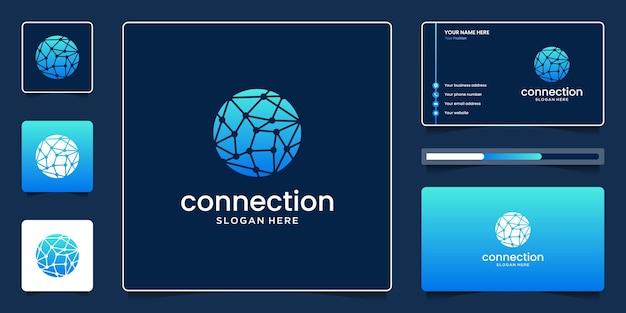 サークルテクノロジーシンボルと抽象的なネットワーク接続
