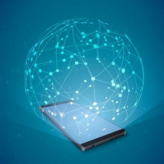 スマートフォンの画面上の抽象的なネットワークホログラム。ソーシャルメディアの概念。スマートフォンを利用したインターネット通信技術。