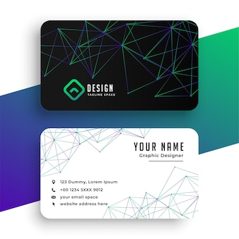 Abstract network lines low poly business card template