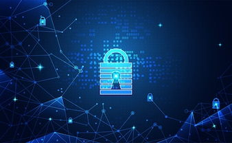 Abstract network protection cyber security and technology