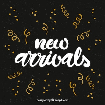 Abstract new arrival background in golden confetti style