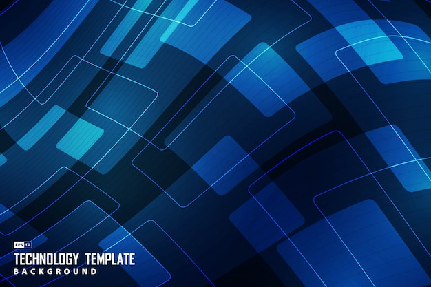 Abstract new tech gradient blue of geometric design decorative background.