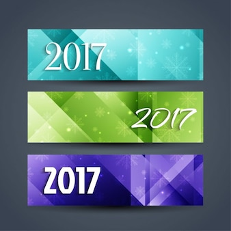 Abstract new year 2017 banners
