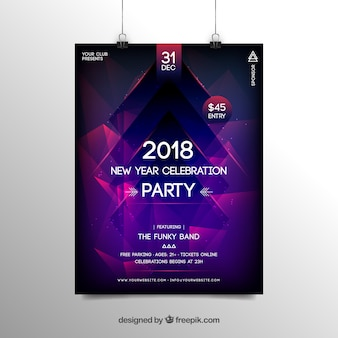 Abstract new year 2018 party flyer poster template in purple