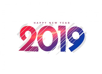 Abstract new year 2019 creative lettering