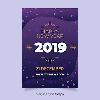 Abstract new year 2019 flyer template