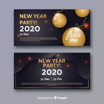 Abstract new year 2020 party banners and balloons