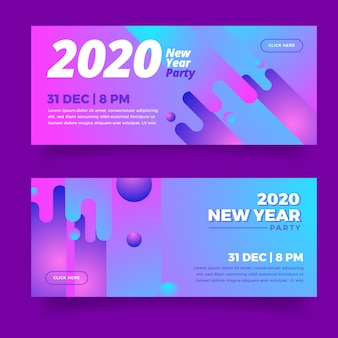 Abstract new year 2020 party banners collection