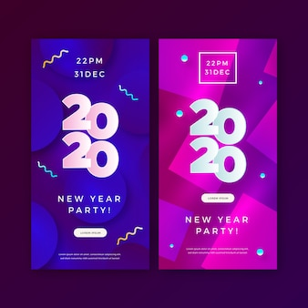 Abstract new year 2020 party banners set