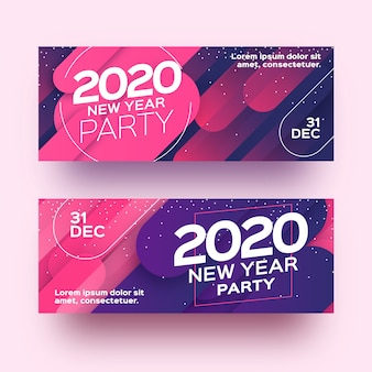 Abstract new year 2020 party banners with gradient