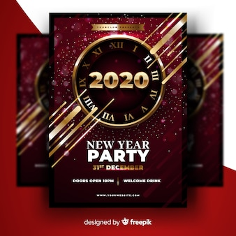 Abstract new year 2020 party flyer template