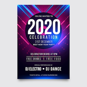 Abstract new year 2020 party poster template