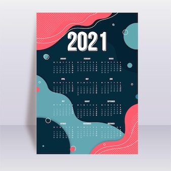 Abstract new year 2021 calendar template