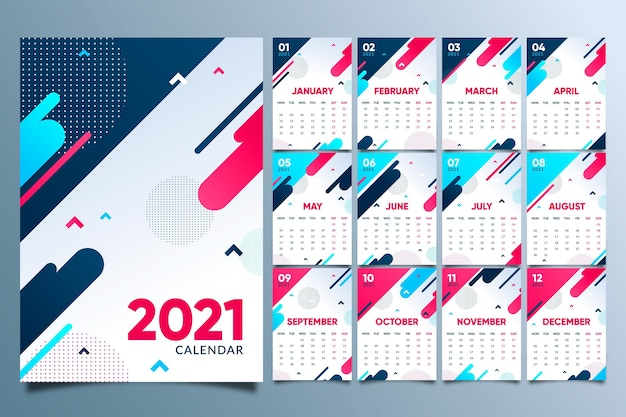 Abstract new year 2021 calendar