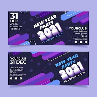 Abstract new year 2021 horizontal banners