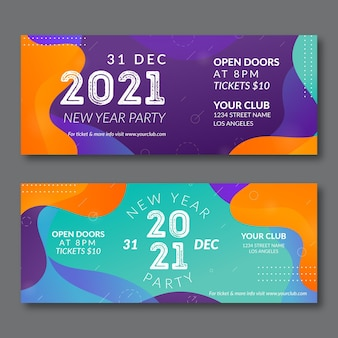 Abstract new year 2021 party banners set