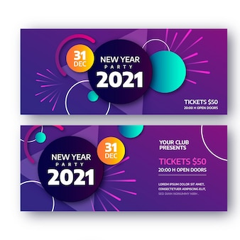 Abstract new year 2021 party banners template