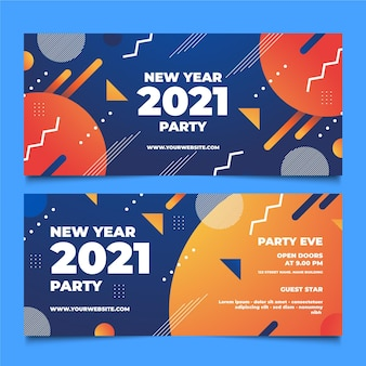 Abstract new year 2021 party banners