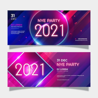 抽象新年2021パーティーバナー