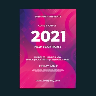 Abstract new year 2021 party flyer template