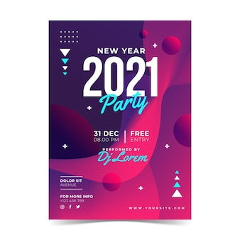 Abstract new year 2021 party poster template