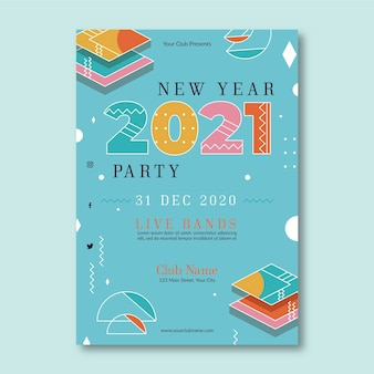 Abstract new year 2021 party template poster