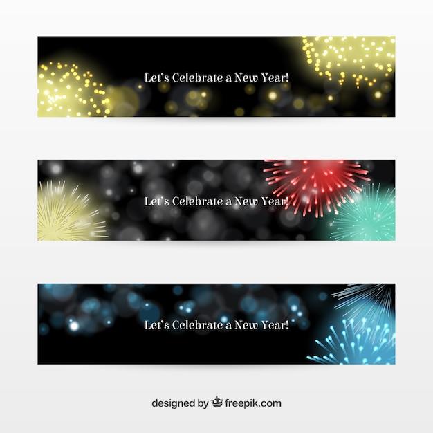 花火と抽象的な新年のバナー