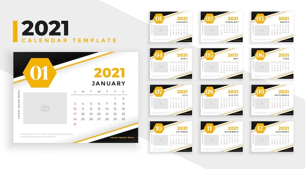 Abstract new year calendar  template yellow theme
