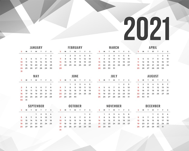 Abstract  new year calendar with gray triangle shapes