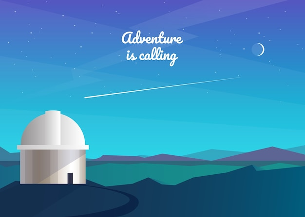 Abstract night background. observatory, observation of stars, comets, the moon, the milky way. mountain landscape. travel, adventure, tourism, hiking.  .