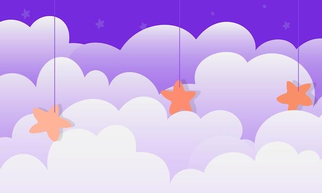 星の背景と抽象的な夜の雲。バナーのシンプルなデザイン。