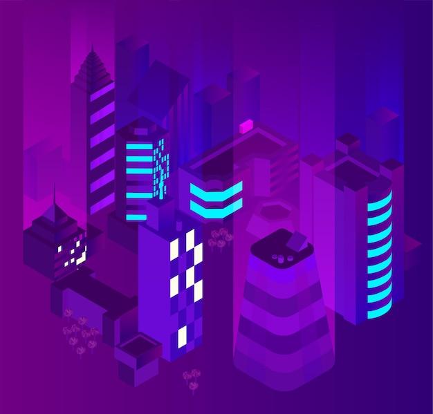 건물 3d 벡터 아이소메트릭 일러스트와 함께 추상 밤 보라색 풍경 배경