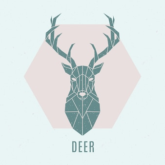 Abstract nordic deer emblem.