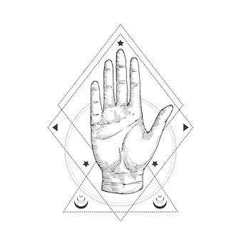 추상 신비로운 상징, 빈티지 스타일 로고 또는 문신