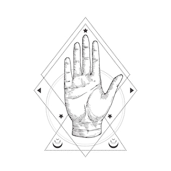 Abstract occult symbol, vintage style logo or tattoo