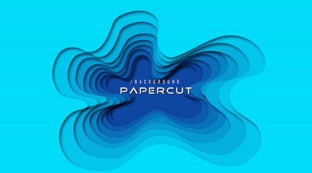 Abstract ocean 3d paper cut background