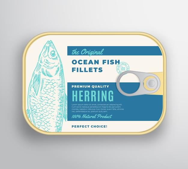 ラベルカバー付きの抽象的な海の魚の切り身アルミニウムコンテナー。プレミアム缶詰。