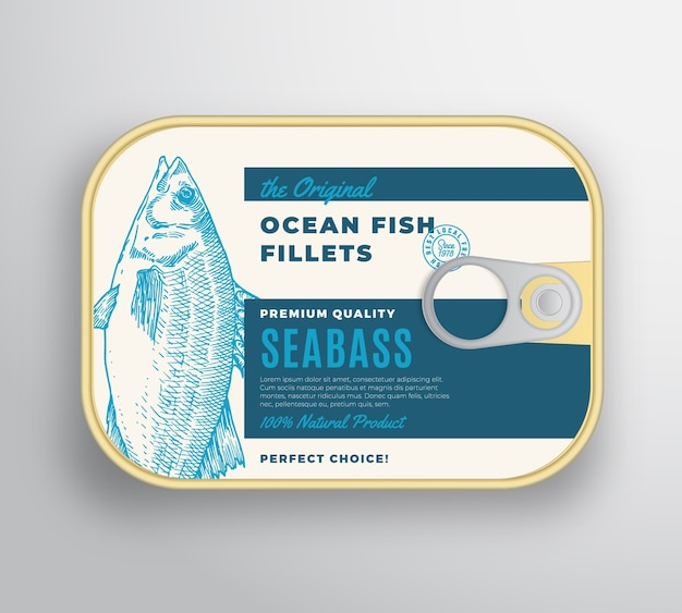 Abstract ocean fish fillets aluminium container with label cover.