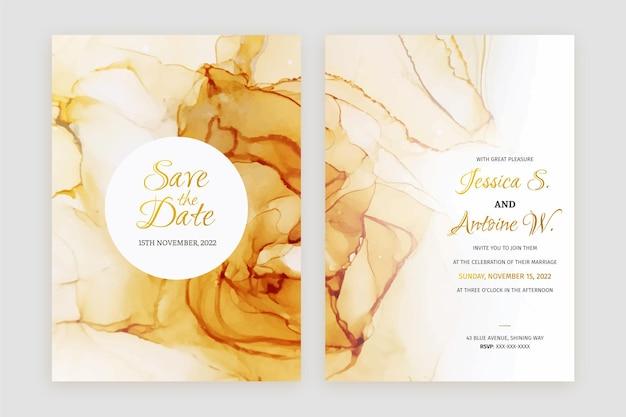 Abstract ochre alcohol ink wedding invitation
