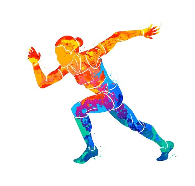 水彩のスプラッシュから走っている女性の短距離スプリンターの要約。塗料のイラスト
