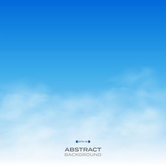 푸른 하늘 배경에 현실적인 구름의 개요입니다.