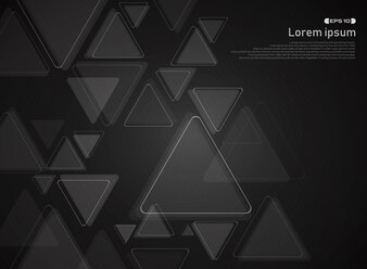 Abstract of technology triangle pattern on gradient black background.