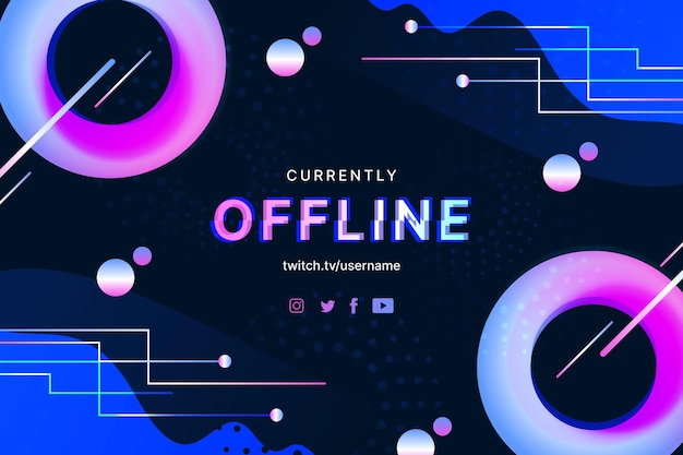 Abstract offline twitch banner in memphis style