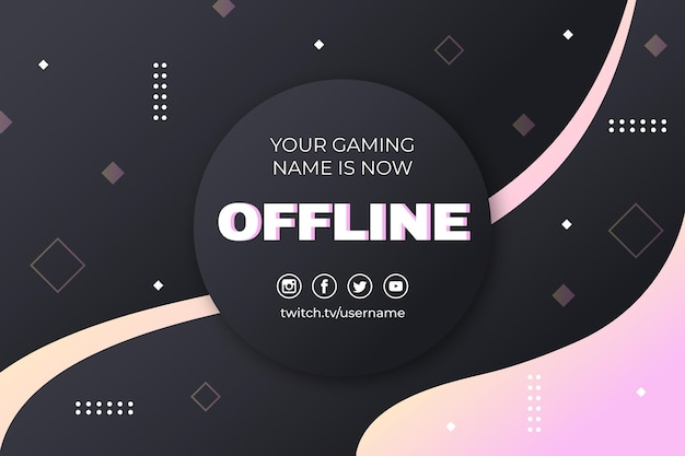 Abstract offline twitch banner with memphis elements