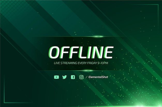 Abstract offline twitch banner with neon particles