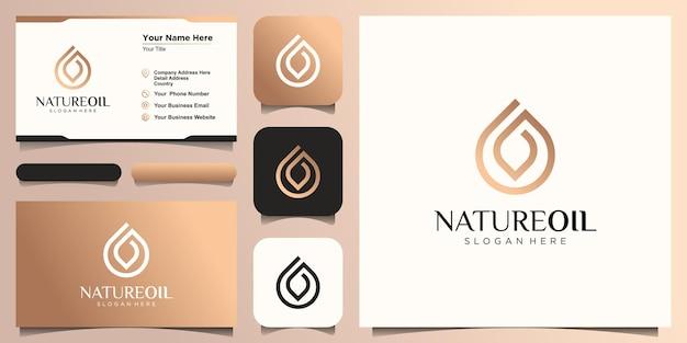 抽象的な油の自然なロゴデザイン、ドロップ結合葉の概念