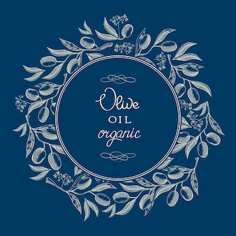 Abstract oil olive blue vintage label