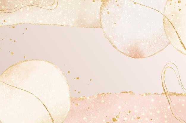 抽象的な油性の背景ライトピンクと金色の線